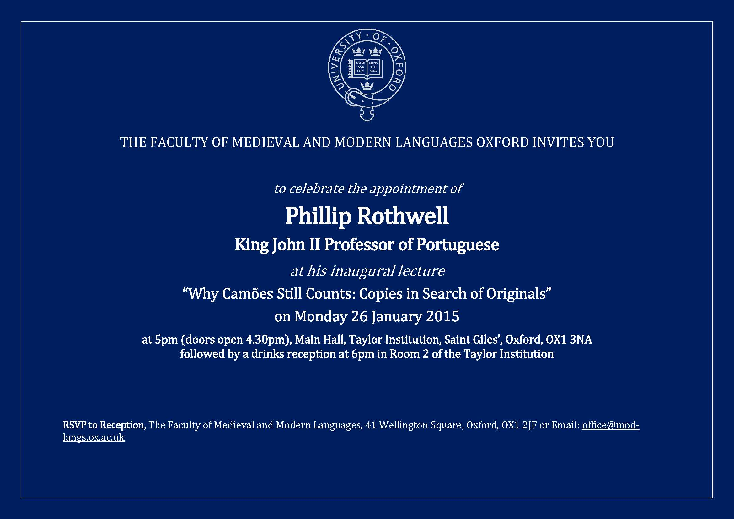 Phillip Rothwell Inaugural Lecture | Faculty of Medieval ...
