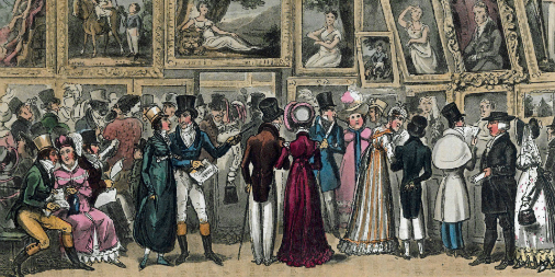 A Shilling Well Laid Out – Tom and Jerry at the Exhibition of Pictures at the Royal Academy, by George and Robert Cruikshank (1821)
