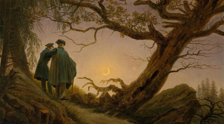 Two Men Contemplating the Moon, by Caspar David Friedrich (ca. 1825-30)