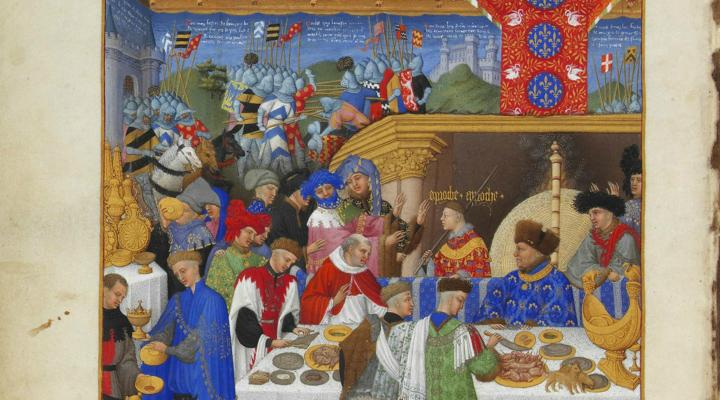 Detail from the calendar of the Très Riches Heures, showing the household of John, Duke of Berry exchanging New Year gifts
