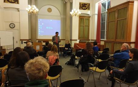 Professor Ben Bollig talking as part of Argentina week