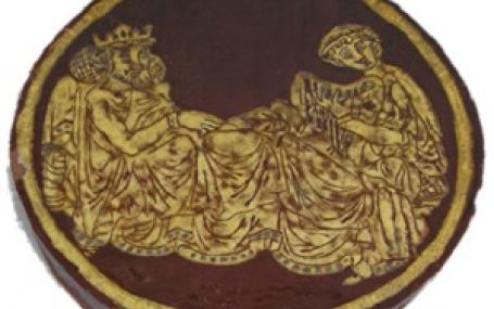Tristan sings for King Mark, tile from Chertsey Abbey, Ashmolean Museum, Oxford, AN 1836-68