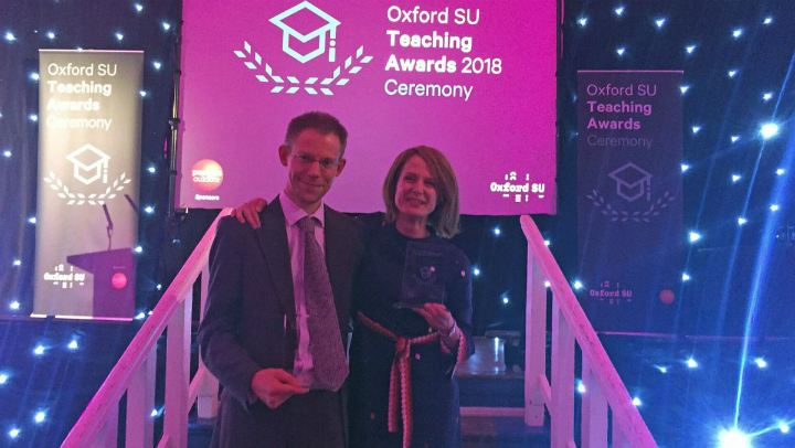 Peter Thonemann and Carolin Duttlinger at the SU Awards Ceremony